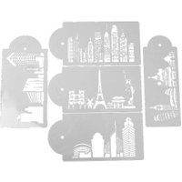 5pcs Urban Landscape plastic wedding cake stencils Baking Decoration Moulds Bakeware Products Kitchen Gadgets