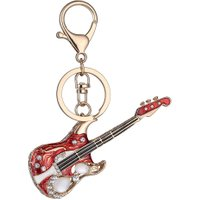 Fashion Mini Guitar Keychain Crystal Cute Gadgets for Women Men Gift
